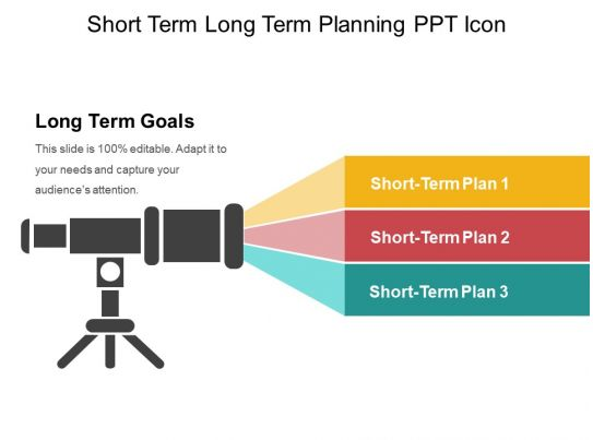 Short Term Plan : Short term long planning ppt icon images