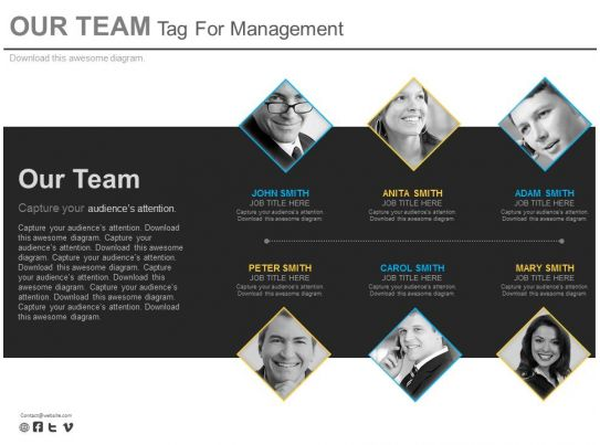 six staged our team tag for management powerpoint slides