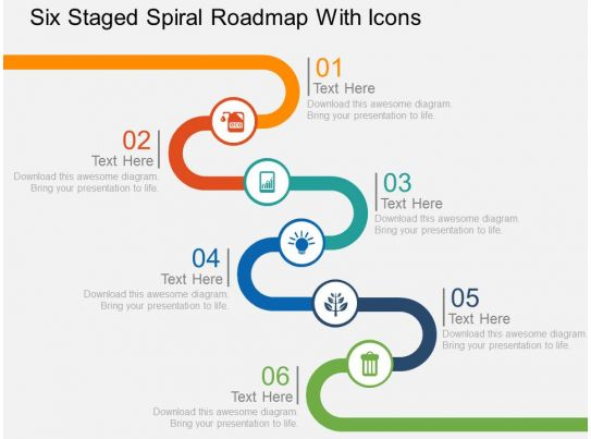 Six Staged Spiral Roadmap With Icons Flat Powerpoint