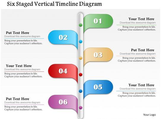six staged vertical timeline diagram powerpoint template. Black Bedroom Furniture Sets. Home Design Ideas