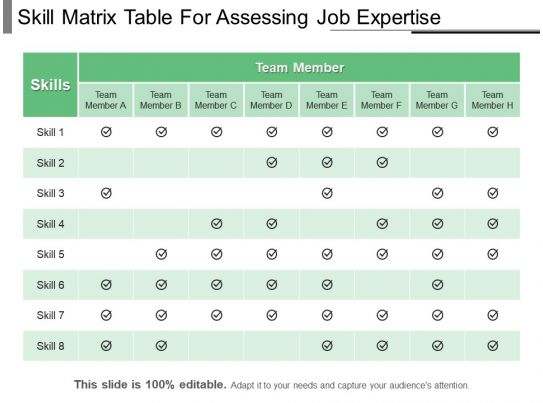 skill matrix table for assessing job expertise ppt example