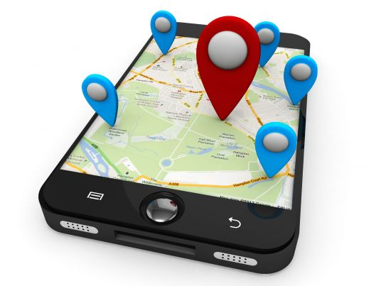 smart phone with map and multiple locations displayed