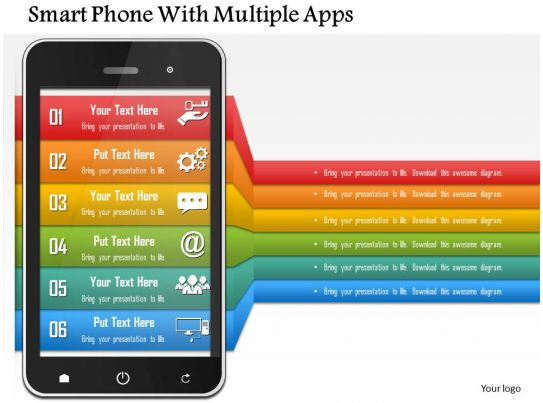 Smart Phone With Multiple Apps Powerpoint Template