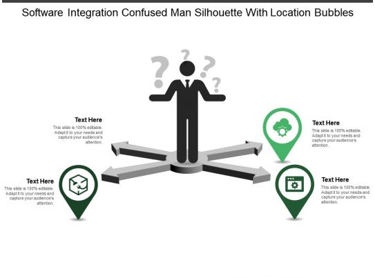 software integration confused man silhouette with location bubbles