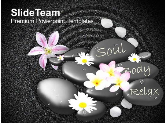 spa massage stones with flowers on beautiful powerpoint