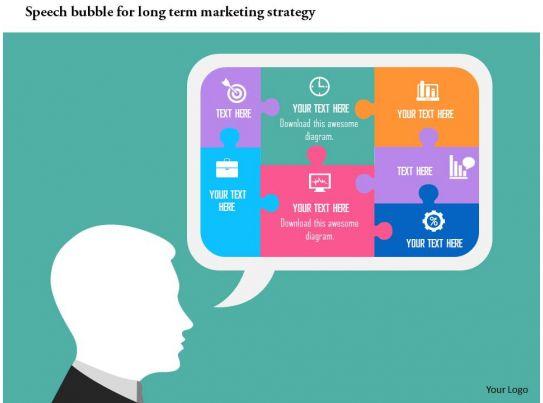 speech bubble for long term marketing strategy flat powerpoint, Powerpoint templates