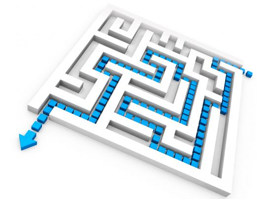 Square Maze With Solution Path For Problem Solving Stock Photo PowerPoint Slide Template