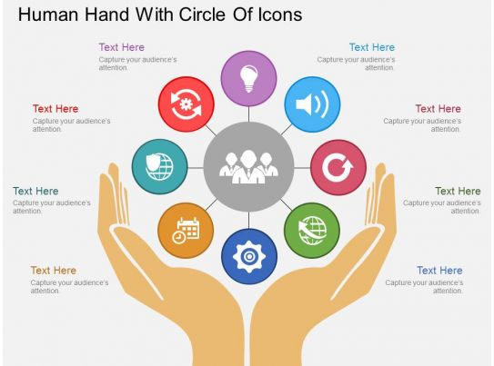 Sr Human Hand With Circle Of Icons Flat Powerpoint Design