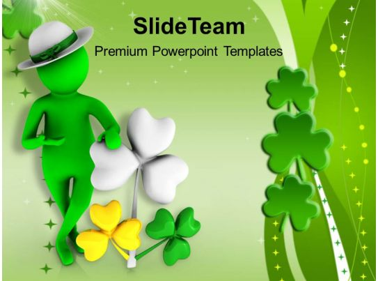 St Patricks Day Festival 3d Man With Clover Leaf Templates