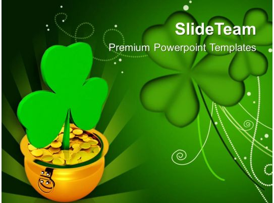 St Patricks Day Shamrock With Gold Coins Green Background