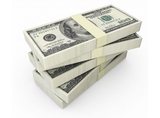Stack Of Dollars On White Background Stock Photo ...