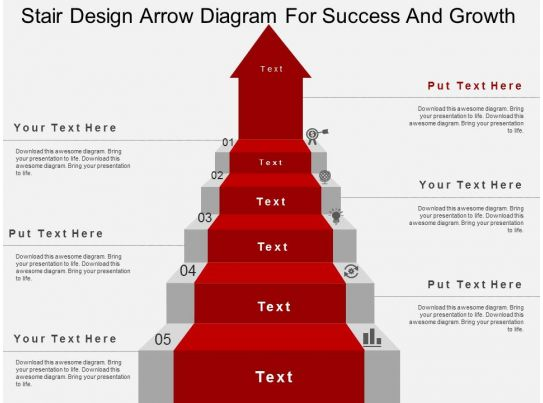Stair Design Arrow Diagram For Success And Growth Flat Powerpoint Design Slide on Ladder Diagram