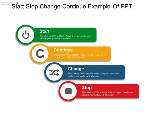 Start stop change continue example of ppt template for Start stop continue template