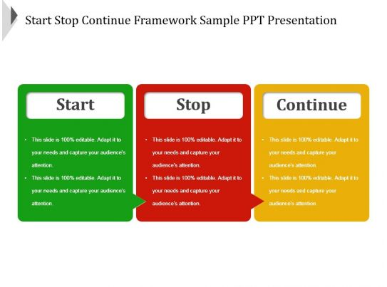 start stop continue template - start stop continue framework sample ppt presentation