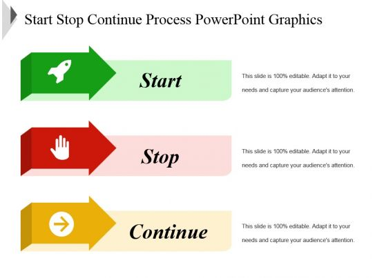 start stop continue template - start stop continue process powerpoint graphics template