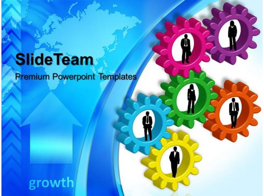 Stock Gear Powerpoint Templates Business Growth Global Teamwork Ppt