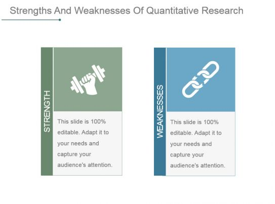 strengths and weakness of quantitative research Weaknesses of research : the purpose of this page is to describe weaknesses of research weaknesses related to the research problem: • the description of the.