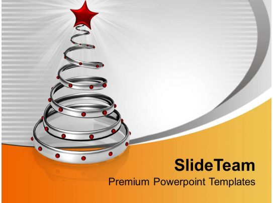 Stylish Silver Ring With Red Star Christmas Powerpoint Templates Ppt