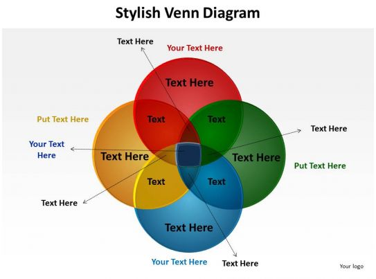 pattern of overlapping shapes shown as venn powerpoint diagram    stylish venn diagram    circles overlapping for education schooling powerpoint