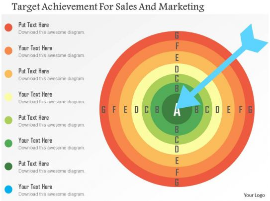 target achievement for sales and marketing flat powerpoint