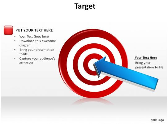 bullseye chart template - target bullseye with arrow dart in center slides