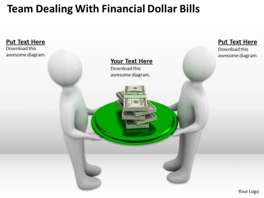 team dealing with financial dollar bills ppt graphics