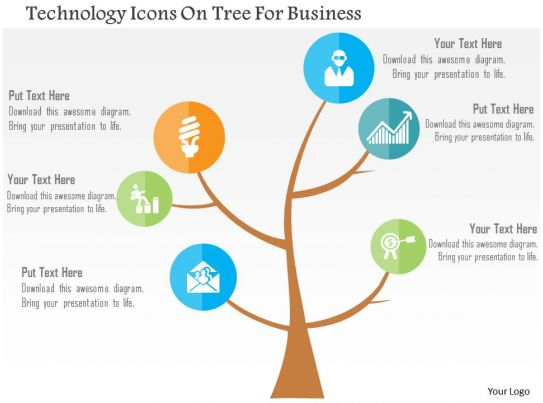 Technology Icons On Tree For Business Flat Powerpoint