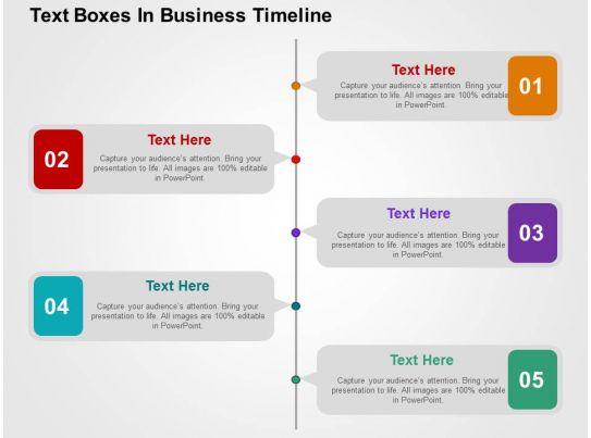 Text Boxes In Business Timeline Flat Powerpoint Design