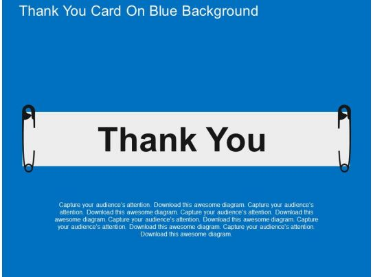 Thank You Card On Blue Background Flat Powerpoint Design Template