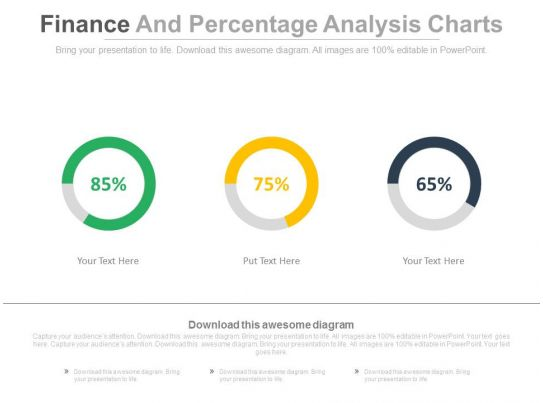 three finance and percentage analysis charts powerpoint