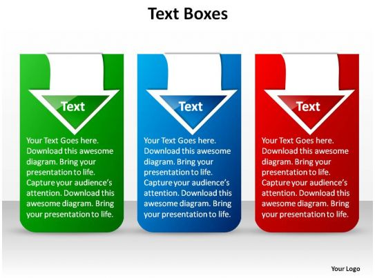 three stylish text boxes blue green red with arrows ppt
