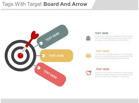 Three Tags With Target Board And Arrow Powerpoint Slides