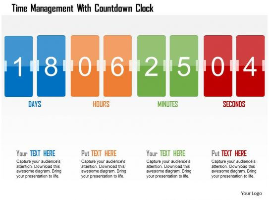 time management with countdown clock flat powerpoint
