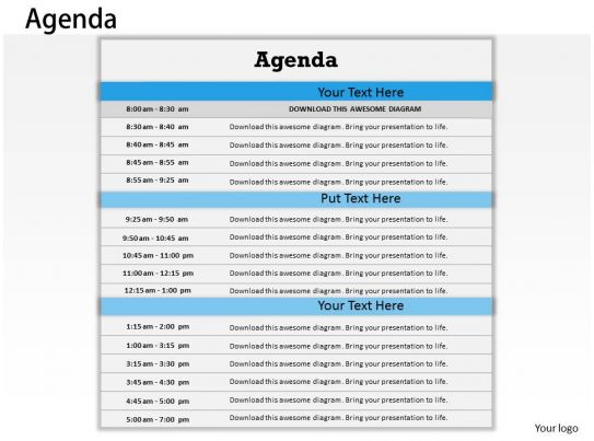 Time Table For Agenda Display 0214 Powerpoint Slides