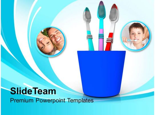 tooth brushes in blue holder powerpoint templates ppt