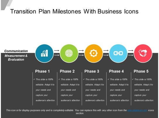 transition plan milestones with business icons powerpoint