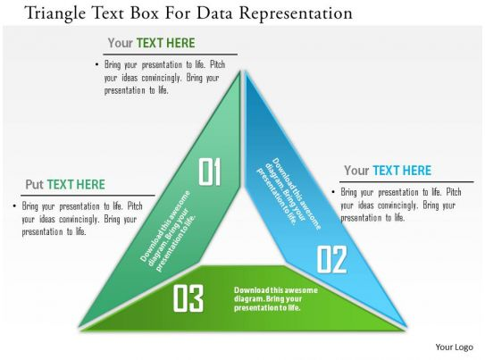 triangle text box for data representation powerpoint template