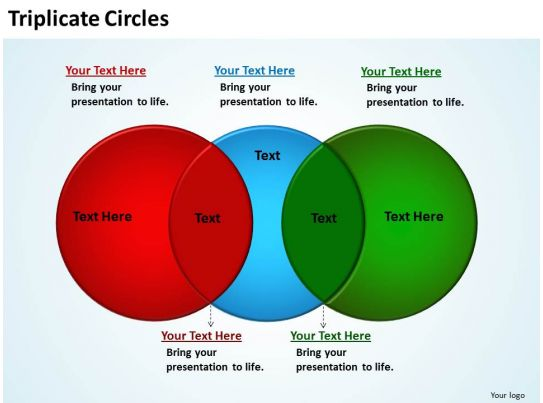 Triplicate Circles Overlapping Side By Side Like Extended Venn Powerpoint Diagram Templates Graphics Slide on Venn Diagram Powerpoint Slide