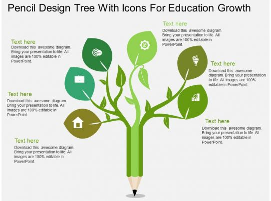 uj pencil design tree with icons for education growth flat powerpoint design. Black Bedroom Furniture Sets. Home Design Ideas