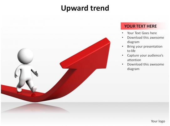 Upward Trend With Arrow And 3d Man Walking Ppt Slides Presentation Diagrams Templates Powerpoint