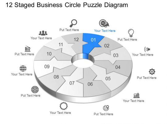 uq twelve staged business circle puzzle diagram powerpoint, Presentation