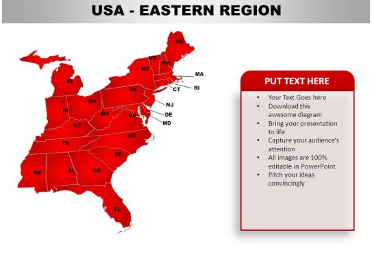 USA Eastern Region Country Powerpoint Maps | PowerPoint ...