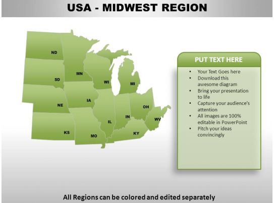 Usa Midwest Region Country Powerpoint Maps Powerpoint