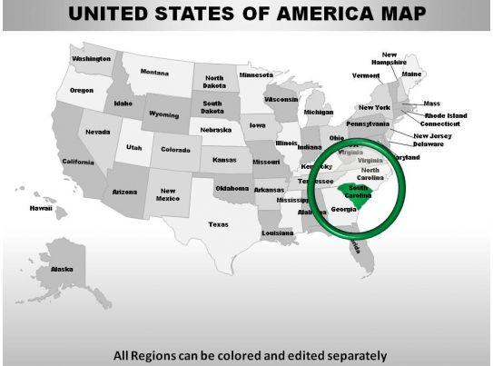 usa south carolina state powerpoint maps