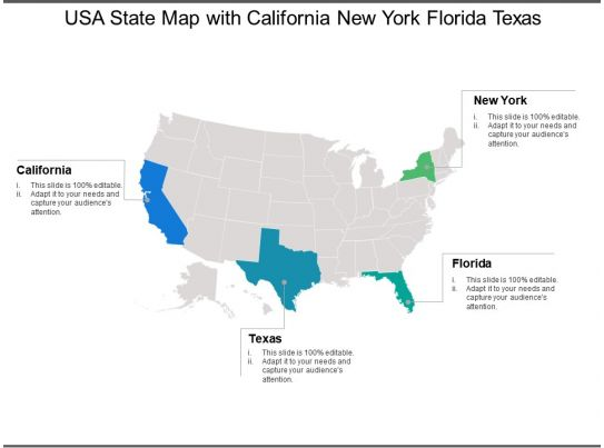 Map Of Texas And Florida.Usa State Map With California New York Florida Texas Powerpoint
