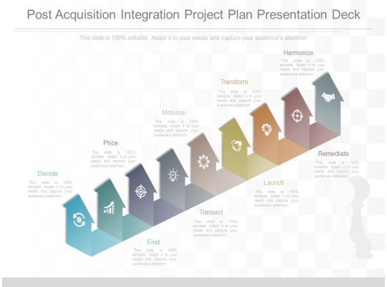 Use post acquisition integration project plan presentation for Project integration management plan template