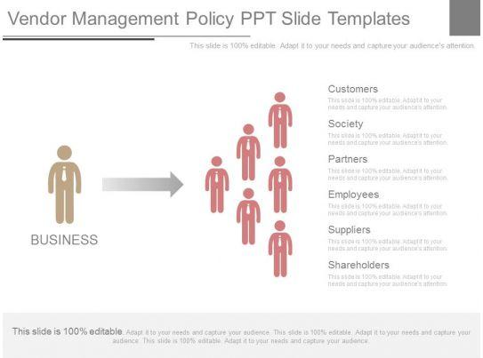 vendor management program template - skillfully designed sales slides showing vendor management
