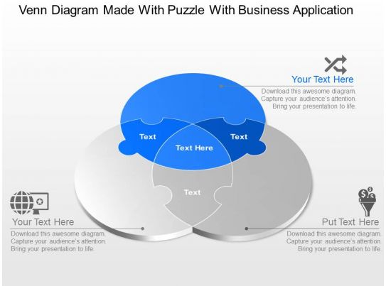 Venn Diagram Made With Puzzle With Business Application Powerpoint