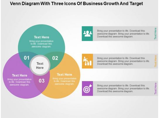 Venn Diagram With Three Icons Of Business Growth And Target Flat Powerpoint Design