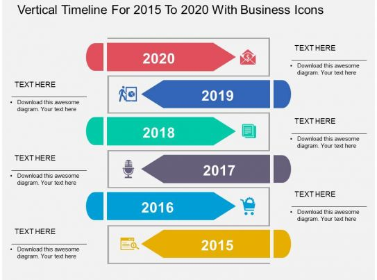 vertical timeline for 2015 to 2020 with business icons